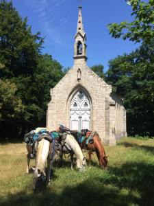 Tiago-Timmy-Pastelle-pause-chapelle-Bretagne-Juillet2017-CavalBreizh-Chamane-et-Marinette